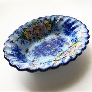 Vintage Floral Hand Painted Portuguese Art Pottery
